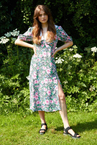 Azalea Floral Midi Dress with Collar - Multi