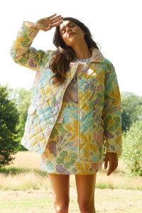 Marianne Floral Quilted Jacket - Cream