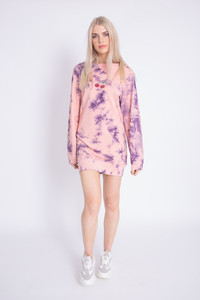 Tie Dye Sweat Dress with Cherry Print
