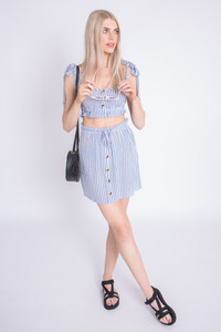 Blue And White Stripe Button Up Front Top With Self Fabric Tie Straps