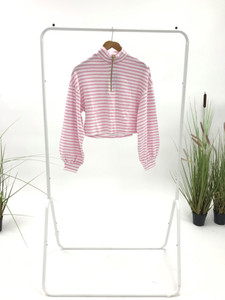 Pink And White Stripe Toweling Fabric Top
