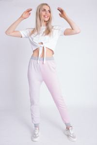 Pink Colour Blocked Sweat Joggers