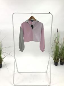 Pink Colour Blocked Long Sleeves Sweatshirt