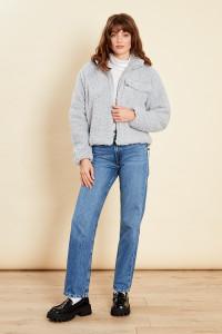 Grey Oversized Jacket With Pocket In Teddy Fleece