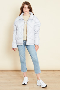 Grey Oversized Quilted Jacket