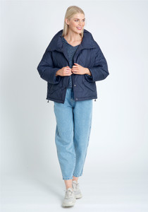 Oversized Padded Jacket In Waved Line Quilt And High Neck