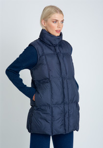 Longline Padded Gilet With Gridded Padding And High Neck