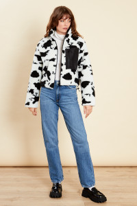 Black & White Oversized Jacket With Pocket