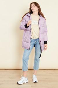 Lilac Oversized Longline Padded Jacket