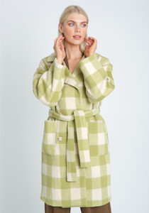 Oversized DB Fastening Check Wool Coat