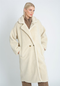 Ivory Oversized Longline DB Fastening Coat In Borg With Stitch Interest