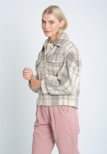 Check Wool Jacket With Button Down Fastening And Puff Sleeve
