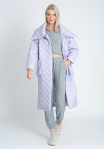 Longline Padded Coat In Diamond Quilt With High Neck Wrap Detail
