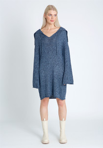 Open Neck Oversized Collar With Self Tie Dress