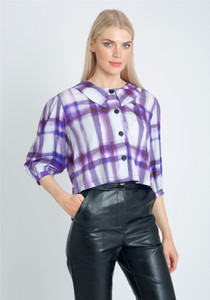 Eco Vera Printed Cropped Blouse With Pointed Collar