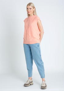 Sleeveless Knitted Tank With Detail Stitch In Boxy Fit
