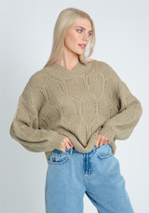 V Neck Knitted Jumper In Diamond Knit Loose Fit