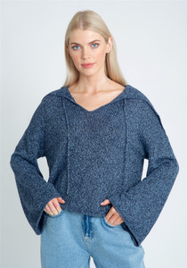 Open Neck Oversized Collar Knit With Self Tie And Wide Cuff Sleeves
