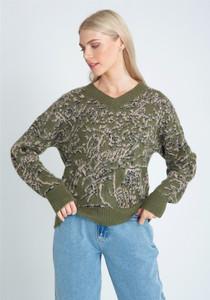 Jacquard Knit Top With V-Neck Opening And Puff Sleeve