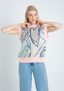 Jacquard Knitted Tank Top With Contrast Edging