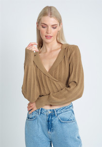 Knitted Wrap Over Top With Open Neck Collar