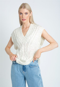 Knitted Tank With Cable Stitch Detail In Multi Col Flecked Yarn