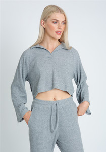 Soft Brushed Jersey In Cropped V Neck Top
