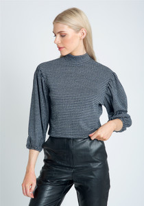 High Neck Top With Puff Sleeve In Jacquard Check