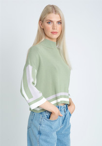 Colour Block High Neck Knitted Top