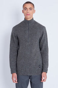 Knitted High Neck Jumper With Half Zip