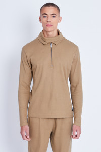 Polo Top With Double Collar Detail In Waffle Fabric