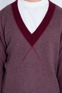 V Neck Oversized Knitted Varsity Jumper