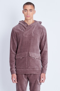 Jersey Corduroy Overhead Hoodie With Cargo Pockets