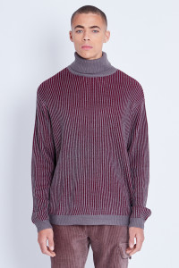 Brown Knitted Deep Rib Jumper With Roll Neck