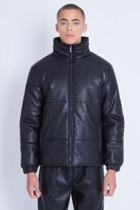 Vegan Leather Puffer Jacket