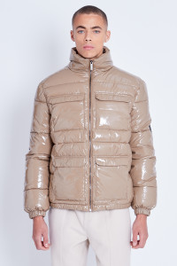 Taupe Puffer Jacket In High Shine