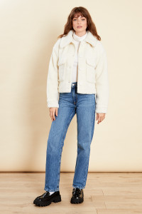 Cream Sherpa Button Through Pocket Jacket