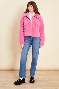 Pink Sherpa Button Through Pocket Jacket