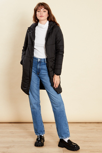 Black Long Puffer Coat With Hood
