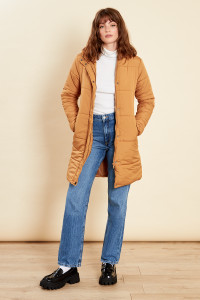 Tan Long Puffer Coat With Hood