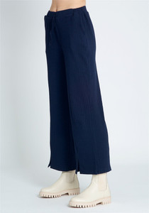 Wide Leg Molly Pant With Split Hem In Navy Jersey Rib With Self-Tie Waist