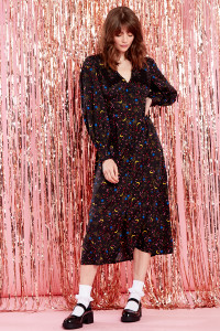 Black Collar Detail Midi Tea Dress