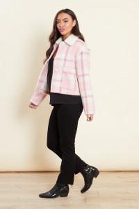Pink Check Fluffy Sherpa Collar Jacket