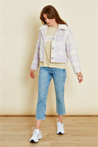 Lilac Check Fluffy Sherpa Collar Jacket