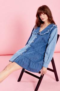 Dorothy Denim Dress with Collar - Blue