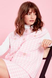 Jackie Sweatervest Cardigan - Pink