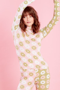 Cindy Retro Floral Roll Neck - Pink