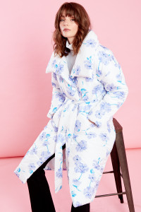 Oversized Belted Padded Jacket In Floral Print