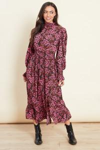 Pink Shirred Waist Frill Hem Midi Dress