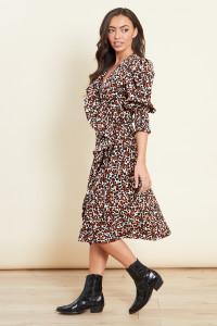 Shirred Cuff Ruffle Wrap Midi Dress